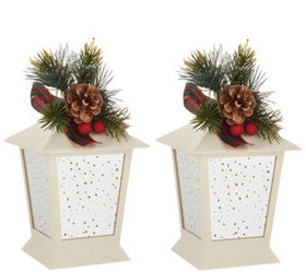 """""""As Is"""" S/2 7"""" Indoor/Outdoor Lanterns with Embell"""
