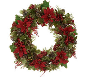 """""""As Is"""" 20"""" Glittered Poinsettia Wreath by Valerie"""
