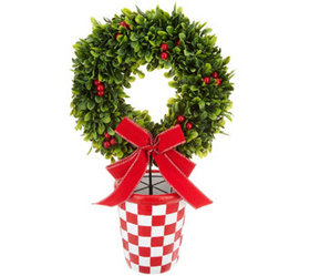 """""""As Is"""" Barbara King Holiday Faux Boxwood Wreath i"""