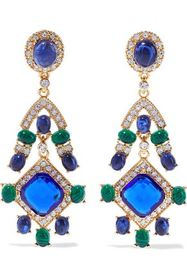 KENNETH JAY LANE Gold-tone, stone and crystal clip