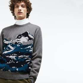 Lacoste Men's Crew Neck Alpine Print Wool And Cott