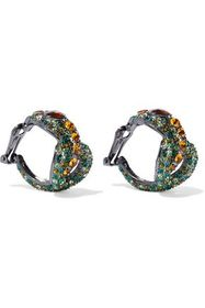 KENNETH JAY LANE Gunmetal-tone crystal clip earrin