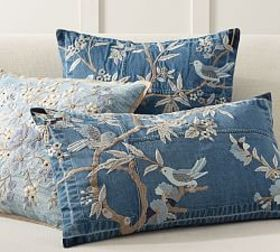 Pottery Barn Denim Floral Embroidered Pillow Cover