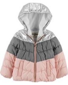 Osh Kosh Toddler GirlMetallic Bubble Jacket