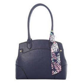 Bueno Pebble Two-Tone Satchel with Scarf