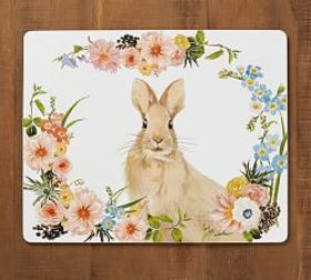 Pottery Barn Floral Bunny Corkmat