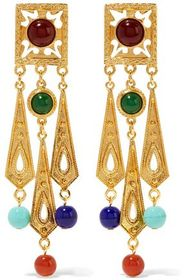 BEN-AMUN Gold-tone bead clip earrings