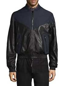 Public School Nesta Leather Bomber BLACK