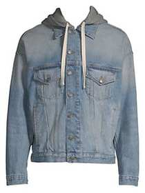 The Kooples Hooded Denim Jacket BLUE
