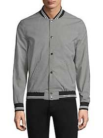 The Kooples Gingham Bomber Jacket BLACK