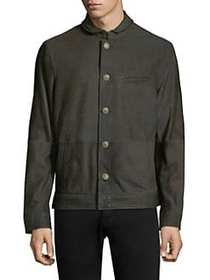 John Varvatos Classic Slim-Fit Leather Jacket DARK