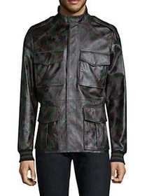 Tomas Maier Camo-Print Leather Jacket ARMY GREEN