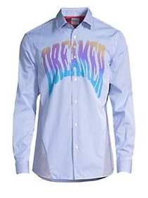 Paul Smith Paneled Pinstripe Button-Down Shirt BLU