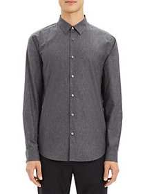 Theory Irving Tone Dot Button-Down Shirt ASPHALT