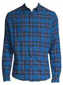 The Kooples Plaid Denim Button-Down Shirt BLUE