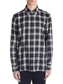 Neil Barrett Pierced Flannel Button-Down BLACK WHI