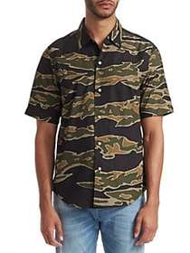 G-Star RAW Camouflage Short-Sleeve Shirt SAGE BLAC