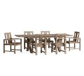Pottery Barn Indio X-Base Extending Dining Table &