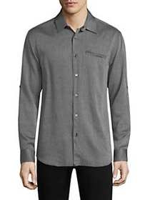 John Varvatos Roll Sleeve Button-Down GREY HEATHER