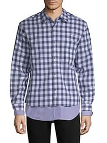 Solid Homme Layered Plaid & Striped Shirt BLUE CHE