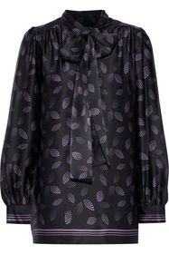 ANNA SUI Pussy-bow printed silk-satin blouse