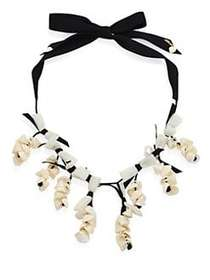 Lele Sadoughi Shell Collector Necklace BLACK WHITE