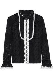 ANNA SUI Paneled embroidered organza and cotton-bl