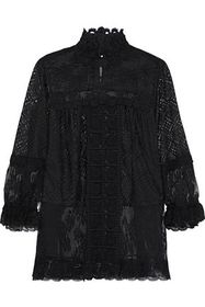 ANNA SUI Flocked tulle-paneled guipure lace-trimme