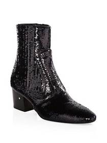 Laurence Dacade Ringo Sequin Booties BLACK