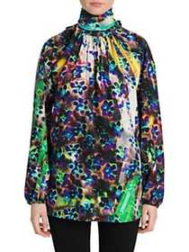Prada Liquid Daisy Bow Back Blouse PURPLE GREEN
