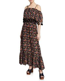 Philosophy Off-the-Shoulder Floral Tassel Maxi Dre
