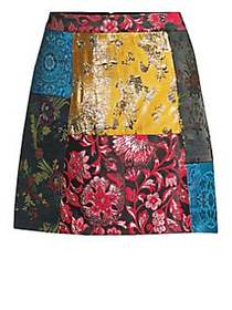 Alice + Olivia Riley Patchwork A-Line Skirt MULTI