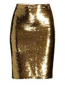 Alice + Olivia Ramos Sequin Pencil Skirt GOLD