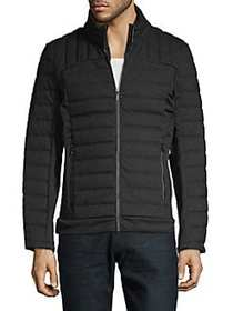 Karl Lagerfeld Mixed Media Quilted Jacket BLACK
