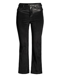Alice + Olivia Jacob Leather Yoke Crop Trousers BL
