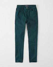 High Rise Ankle Jeans, DARK TURQUOISE