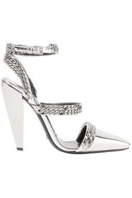 TOM FORD Chain-embellished mirrored-leather pumps