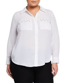 MICHAEL Michael Kors Plus Size Studded Button-Down