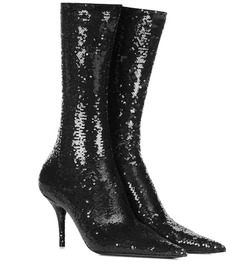 Balenciaga Knife sequined sock boots