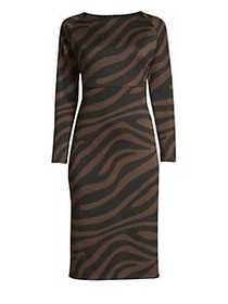 Weekend Max Mara Long Sleeve Zebra-Print Sheath Dr