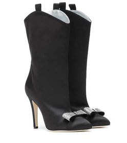 Alessandra Rich Crystal embellished satin boots
