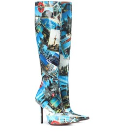 Vetements Printed leather knee-high boots