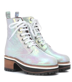 Sies Marjan Holographic leather ankle boots