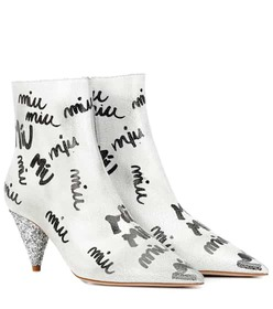 Miu Miu Printed leather ankle boots