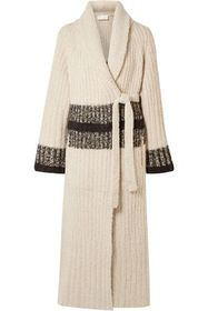 CHLOÉ Striped ribbed wool and cashmere-blend wrap