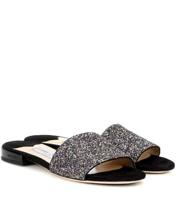 Jimmy Choo Joni Flat leather and glitter sandals