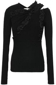 3.1 PHILLIP LIM Ruffle-trimmed cutout stretch-knit
