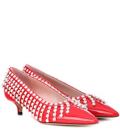 Christopher Kane Crystal patent leather pumps