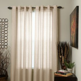Woven Jacquard Solid Sheer Grommet Single Curtain