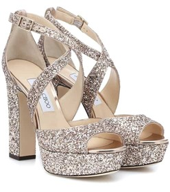 Jimmy Choo April 120 glitter plateau sandals